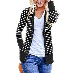 Long Sleeve Button Up Striped Cardigan in Black
